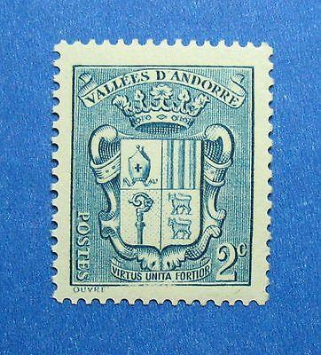 Andorra Strong-Willed 1936 Andorra French 2c Scott# 66 Michel # 50 Unused Nh Cs26571