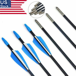 US-12PCS-Archery-28-039-039-Fiberglass-Shaft-Arrows-Spine-700-For-Recurve-Bow-Hunting