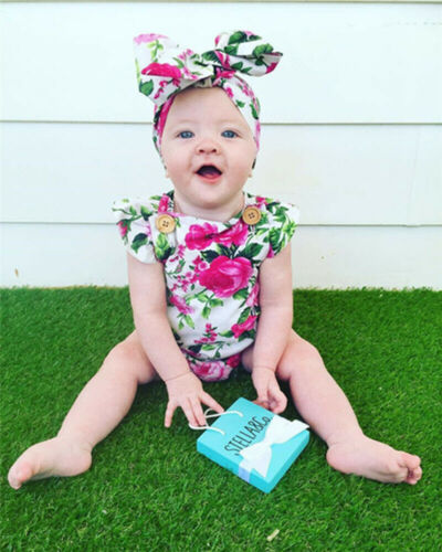 Sunsuit Toddler Baby Girl Cotton Romper Jumpsuit Headband Outfits Clothes Set