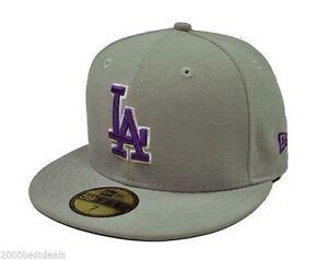 97dca98f6cd8a New Era 59Fifty MLB Custom Los Angeles dodgers Gray Purple 5950 ...