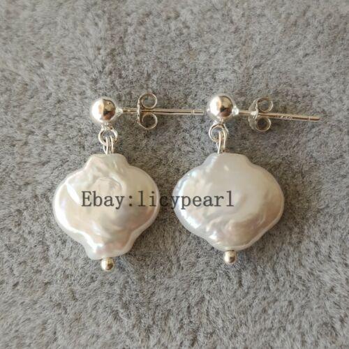 12-13mm weiß Perle 925 Silber Ohrringe Baroque Perle Ohrringe