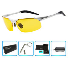 Night Vision Driving Polarized Glasses Unbreakable Metal Sunglasses Silver