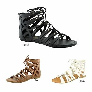 Women-Lace-Up-Zipper-Strappy-Cage-Gladiator-Ankle-Sandal-Flats-Shoes-Size-5-5-10