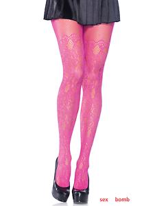 SEXY calze collant pink Acceso Pizzo Ricamato Taglie Comode Fashion GLAMOUR