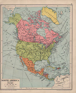 Details about 1928 MAP ~ NORTH AMERICA ~ CANADA MEXICO UNITED STATES ~ WEST  INDIES