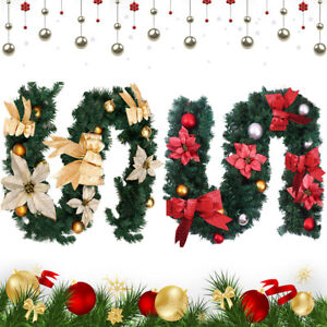 Details About 6ft 9ft Christmas Garland Xmas Decorations Pre Lit Lights Pine Cones Fireplace