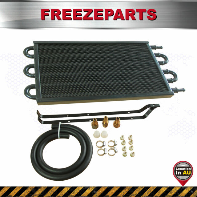 6 Row Aluminum Remote Transmission Oil Cooler Auto-Manual Radiator Converter Kit