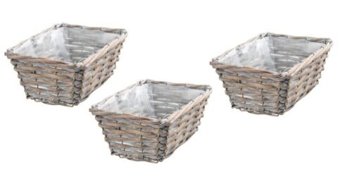 Willow Plant Pots Planters White Wash Lined Wicker Basket Storage Box Rectagular