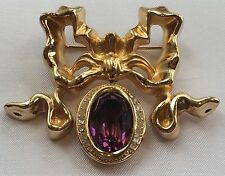 Vintage CHRISTIAN DIOR French Bow Faux Amethyst Crystal Brooch Pin