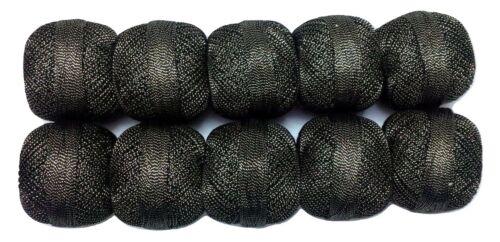 Size 20 LOT 10 Cotton Lurex Jari Yarn Shiny Thread Crochet Knitting Embroidery