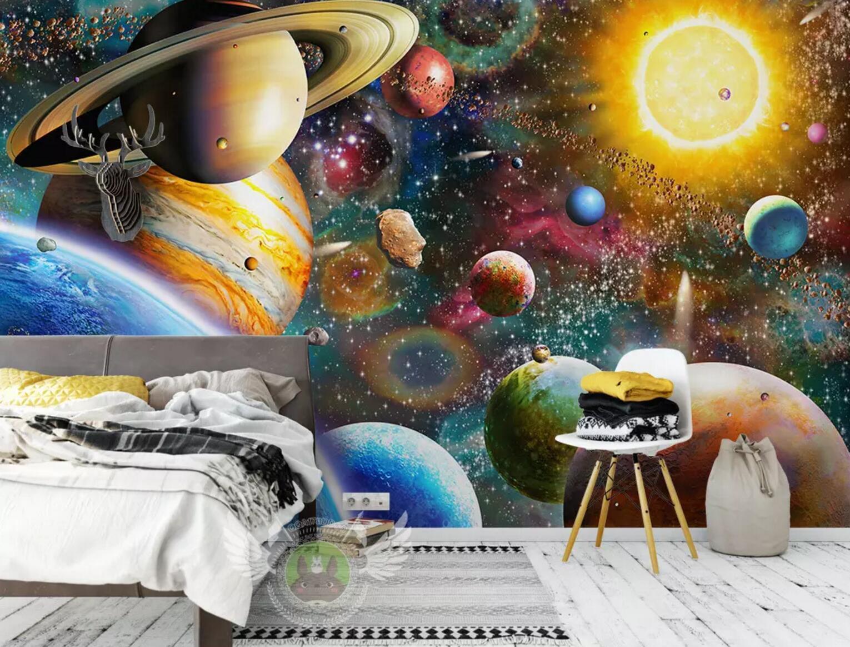 3D Raum Planet 21 Mauer Papier Exklusiv MXY Fototapete Abziehbild Innen Mauer