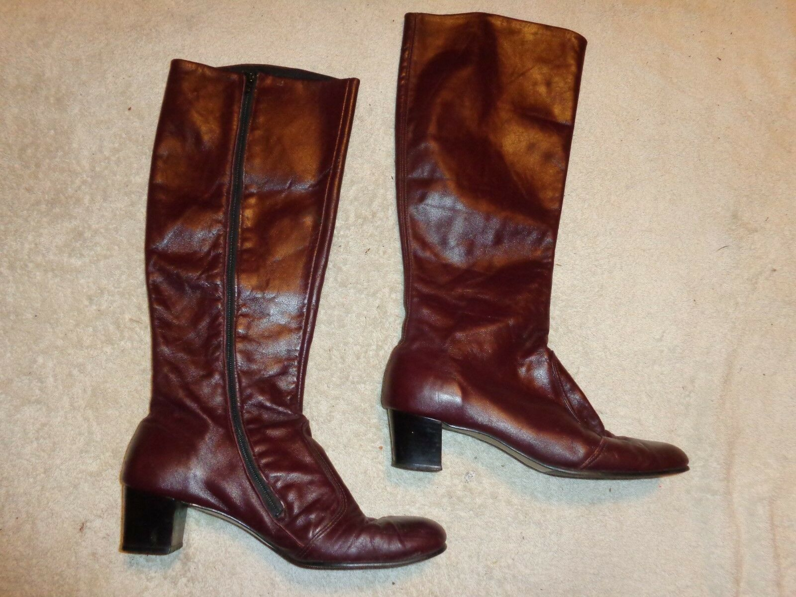 TALON LEATHER UPPER ZIPPER BOOTS WOMENS SIZE 7 1/2  M