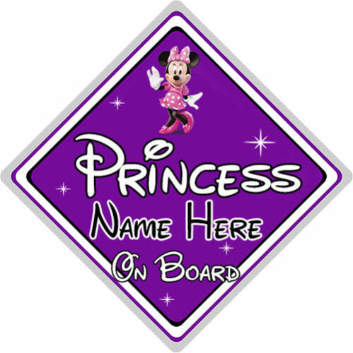 Minnie Mouse Purple Personalised Disney Princess On Board Car Sign