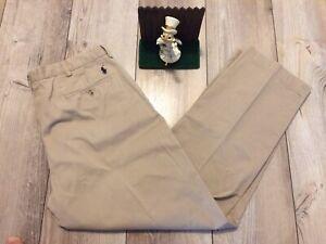 Mens Polo Ralph Lauren 38 X 31 Beige Preston Fit Plano Frontal Pantalones Chinos Khakis Ebay