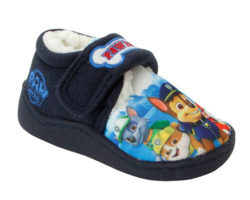 BOYS NICKELODEON PAW PATROL CHARACTER TOUCH FASTENING SLIPPERS INFANTS SIZE 5-12