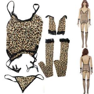 Lingerie-Nightwear-Leopard-Garter-G-String-Gloves-Stocking-Bodystocking-SKU-23