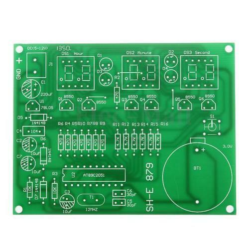 DIY Kit Module 9V-12V AT89C2051 6 Digital LED Electronic Clock PartsSWDIUK
