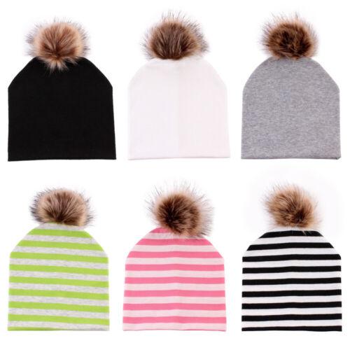 Ski Children  Winter Warm  Kids  Baby Ball Hat PomPom  Knitted Caps Fur
