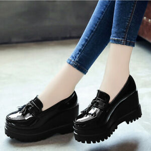womens wedge heel patent leather platform shoes casual