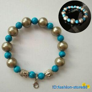 New-Tibetan-Silver-Turquoise-Bead-Bracelet-Buddha-head-Bangle-L1805