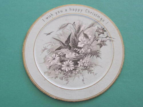 Late 1800s Victorian Round Shape Christmas Greeting Card 100mm