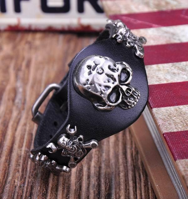 G298 Black Cool Biker Skull Pirate Punk Leather Wristband Bracelet Cuff Men's