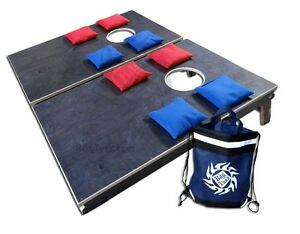 Image Is Loading Portable Cornhole Set Camping Size All Wood Includes