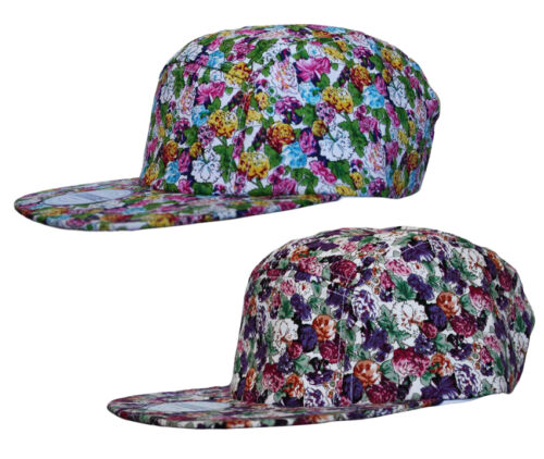 RC Headwear Floral Print 5 Panel SNAPBACK Cap Hat Snap Back Fuchsia Pink Purple