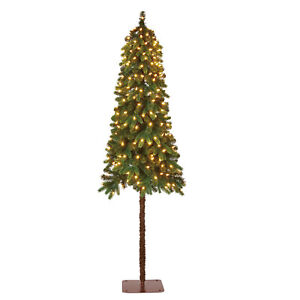 Details about Home Heritage True Bark 6 Foot Slim Artificial Christmas Tree  with White Lights