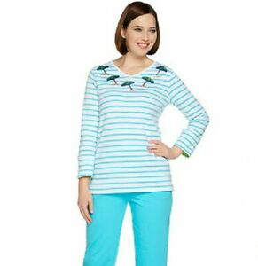Quacker-Factory-Size-2X-Turquoise-Umbrella-3-4-length-sleeves-V-neck-Top