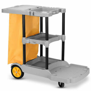 Commercial-Janitorial-Cleaning-Cart-3-Shelf-Housekeeping-Ultility-Cart-Vinyl-Bag