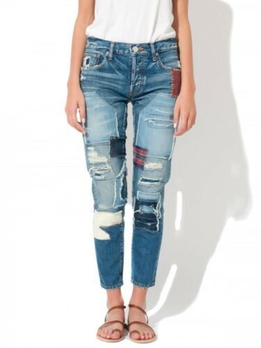 MOUSSY Vintage MV Hand Repair Tapered Patched Slim Denim Jeans Blue $394 #1330