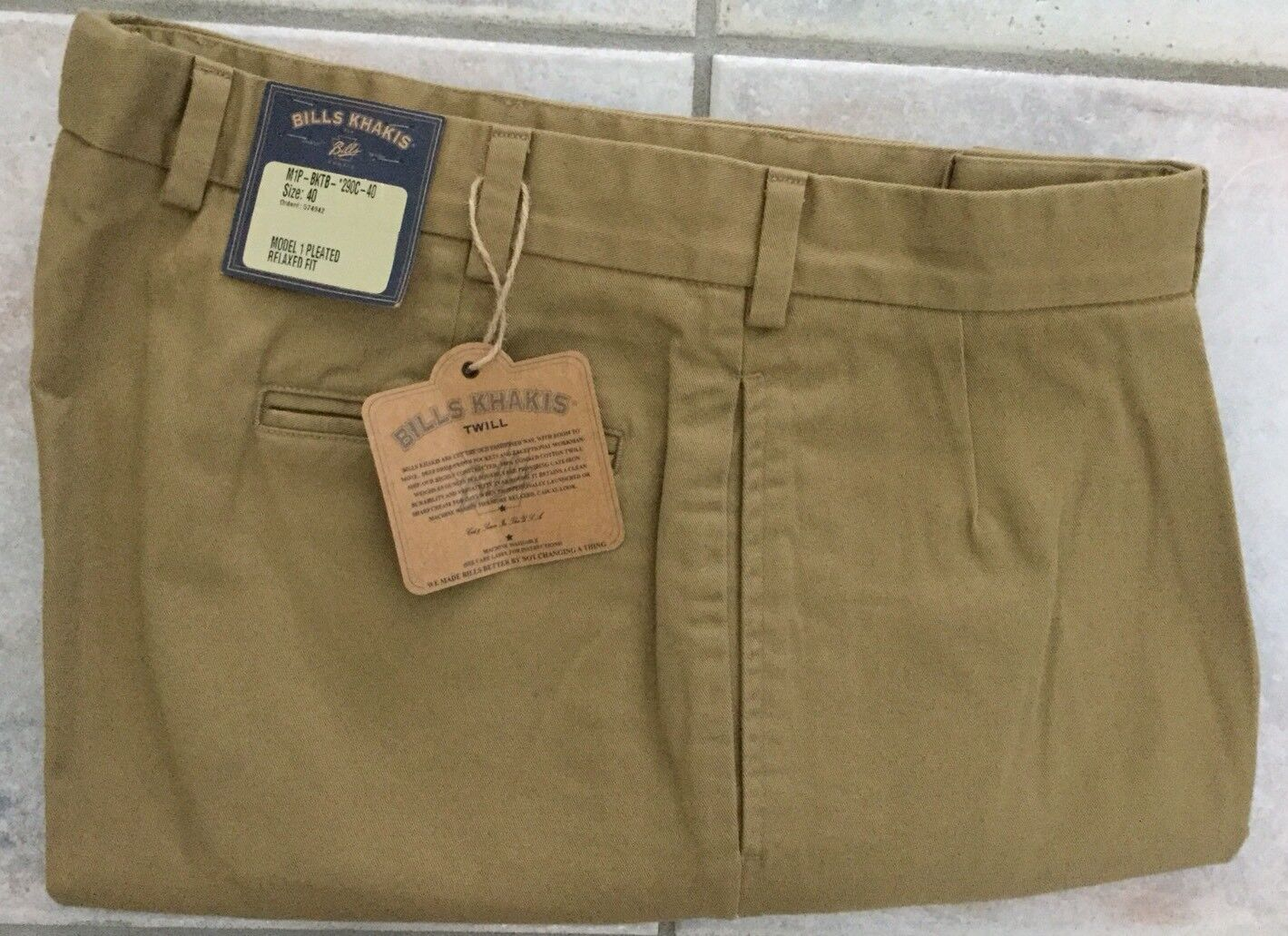 NWT-Bills khakis M1P-BKTB Cuffed Size 35X32 Heavy Cotton BRITISH KHAKI