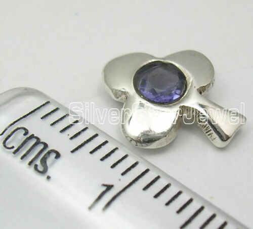 TREE Studs Earrings 0.5 Inches Round Shaped CUT Violet IOLITE 925 Solid Silver