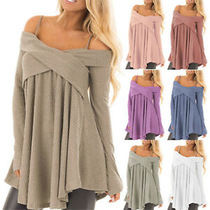 19d001844f2 Plus Size Women s Off Shoulder Pullover Tops Knitted Oversized ...