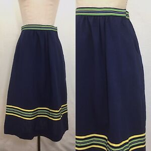 Vintage-60s-The-Red-Mill-by-Karol-Lynne-A-Line-Navy-Striped-Skirt-Size-Small