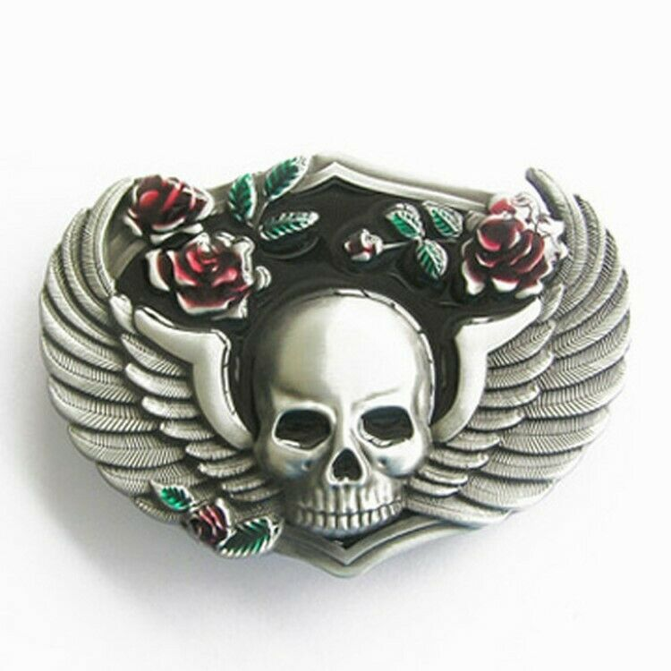 Belt Buckle Skull with Wings & Roses