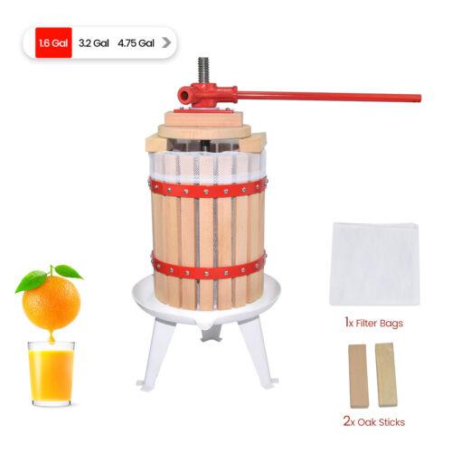 Fruit Wine Press 1.6 Gallon Solid Wood Basket Cider Press Apple Berries Press