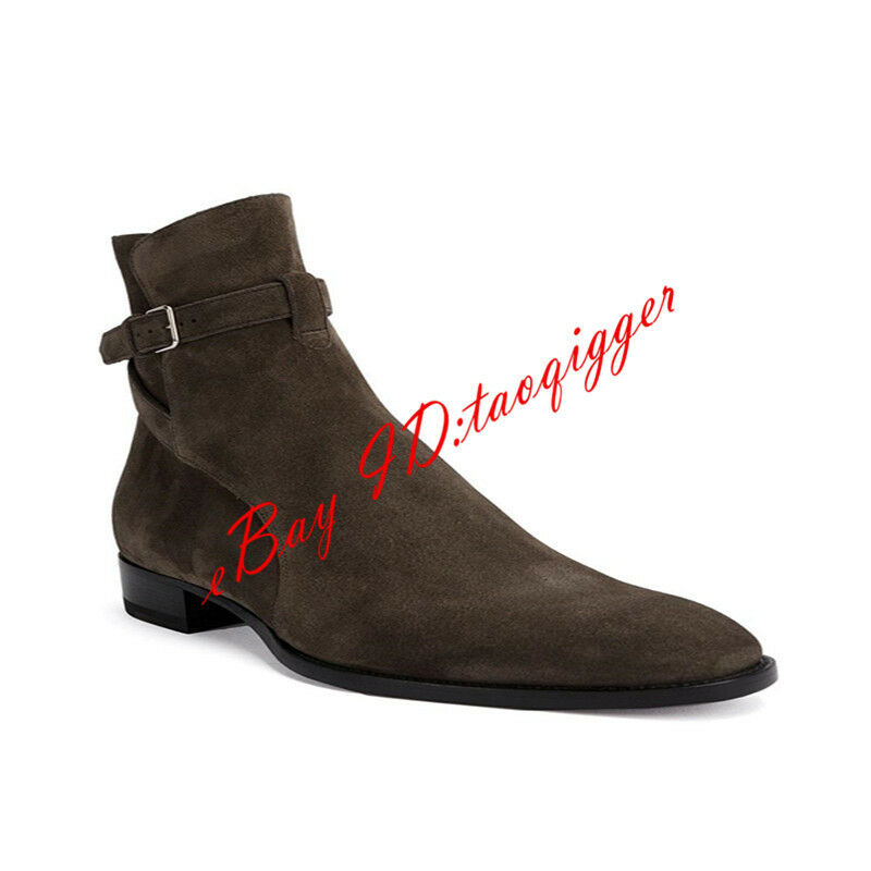 Mens Ankle Boots Chelsea Buckle Pull On Casual shoes Pointed Toe Fashion Leather
