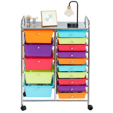 Utility 15 Drawer Storage Rolling Carts Opaque Multicolor Drawers Home Ampoffice