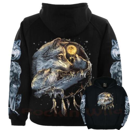 WOLF Wolves Native Indian Wolf Dreamcatcher Animal Wild Hoodie M L XL