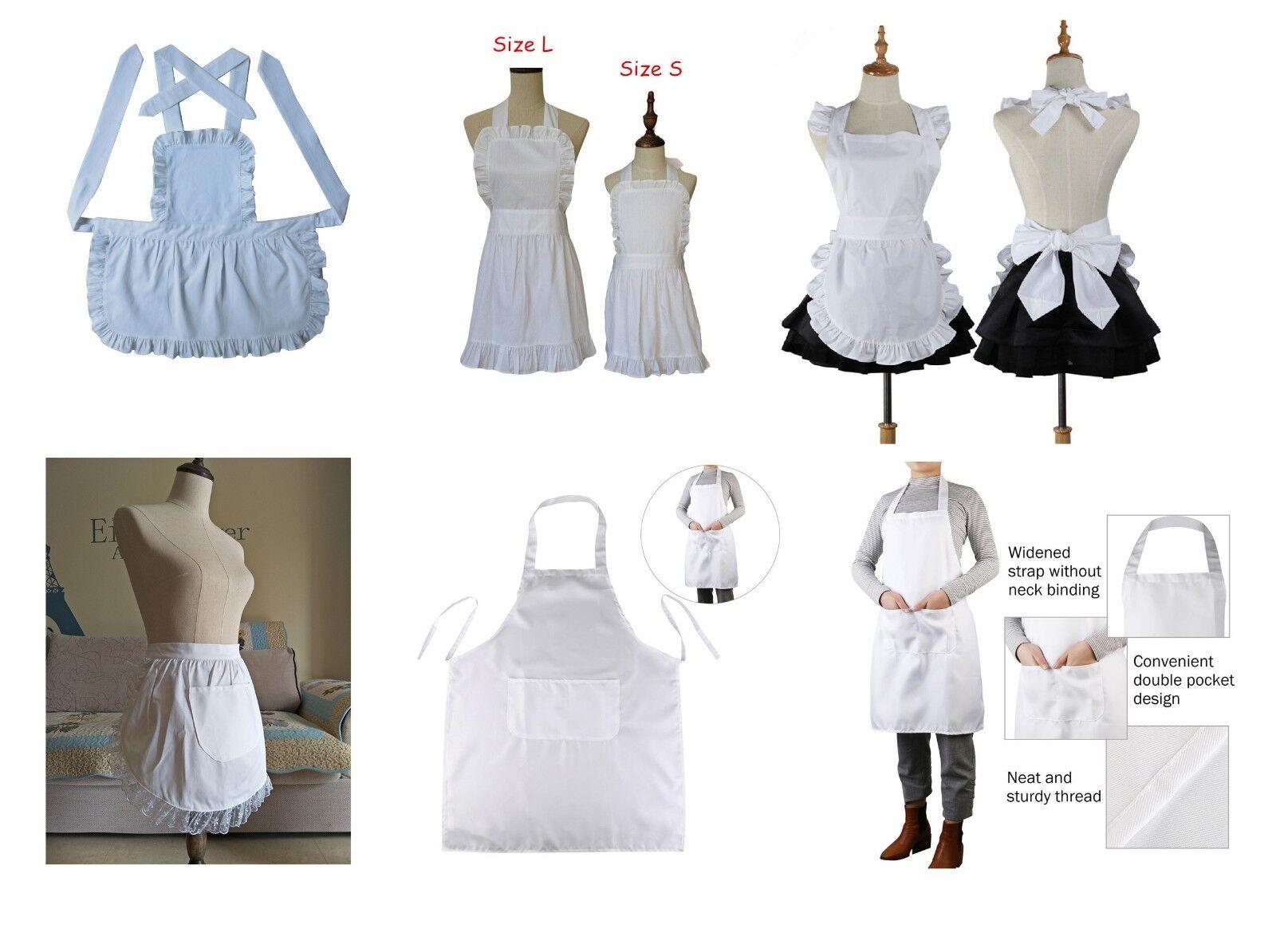 White Vintage Retro With Pocket Pockets Victorian Dress Half Apron Pinny Girls