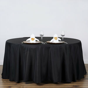 Details About Black 120 Round Polyester Tablecloth Seamless Wedding Table Linens Dinner Sale