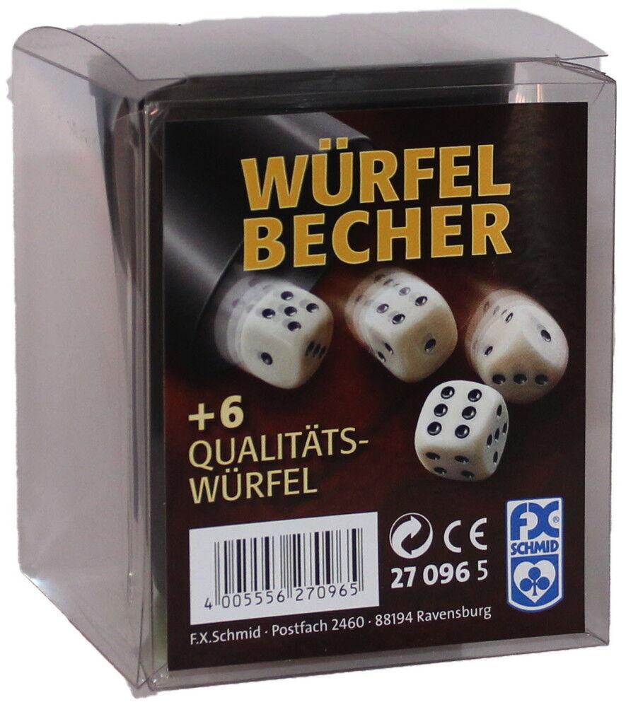 10 x Ravensburger FX Schmid schwarzer Würfelbecher mit 6 Würfel 27096