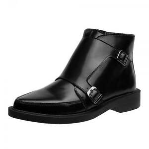 T.U.K. A9118 Tuk Black Leather Ankle Boots Jam Two Buckle Men'S Pointed Casual