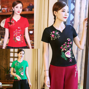 Womens Chinese Embroidery Folk Floral Cotton T-shirt Short Sleeve Stretch Tops
