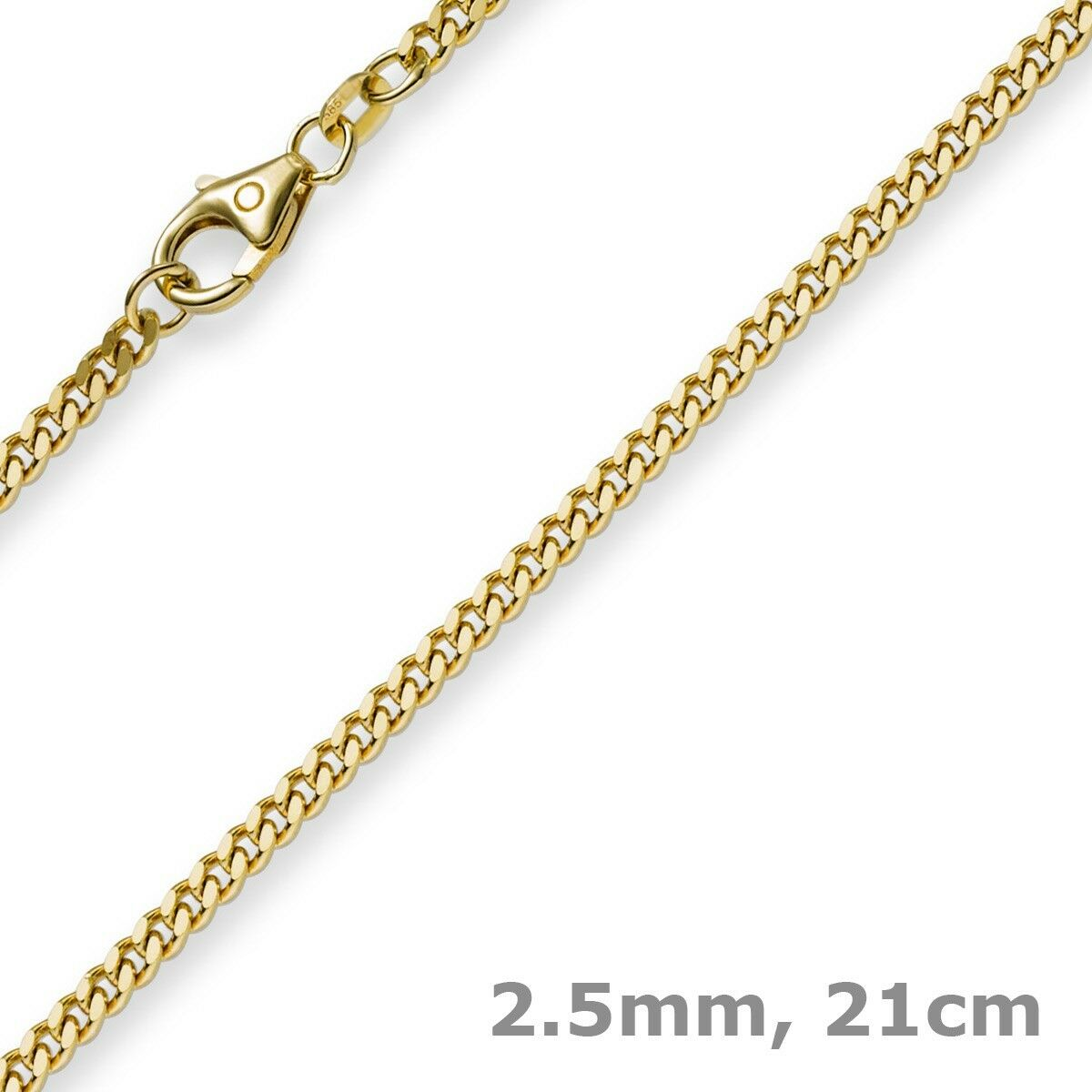 0 3 32in Curb Chain Bracelet Bracelet, 585 gold Yellow gold, 8 9 32In, Unisex