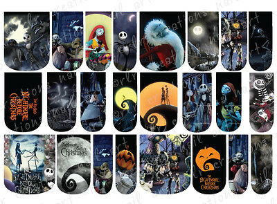 24 WATER SLIDE NAIL ART DECALS * NIGHTMARE BEFORE CHRISTMAS  * FULL NAIL COVERS