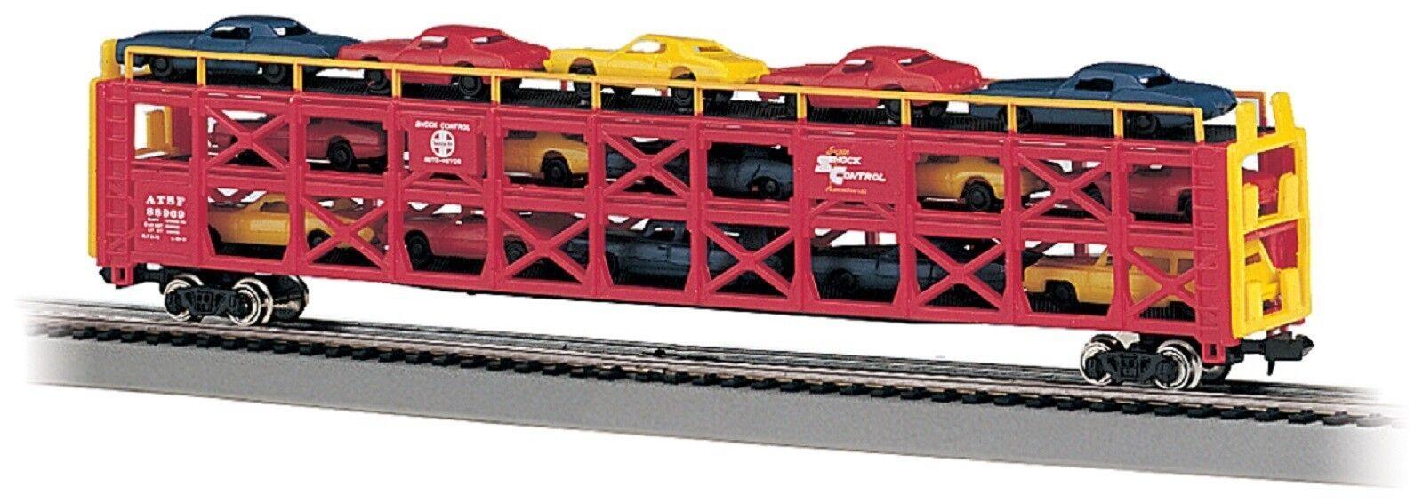 punto de venta 46502 Wagon porte autos 3 niveaux Santa FE FE FE avec voitures Bachmann train N 1 160  soporte minorista mayorista