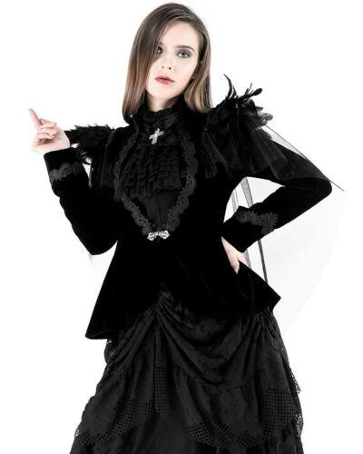 Dark IN Love Donna Gotico Giacca Velluto Nero Raven Piuma Steampunk Vtg Mantella